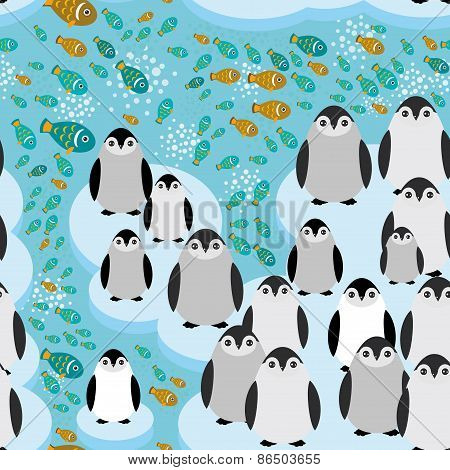funny penguins on an ice floe, fish swim in the water seamless pattern. Vector