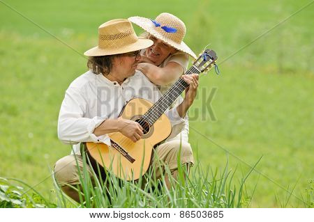 Playing Guitar Outdoors