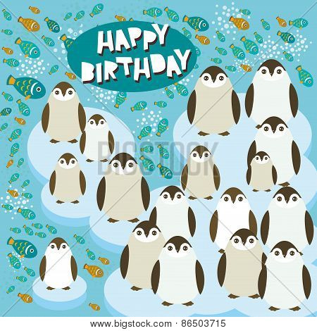 Happy birthday card funny penguins on an ice floe. Vector