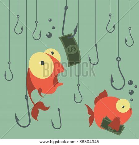 Cartoon vector concept. Fishing. Finances. Business risks. Banks. Credits and deposits