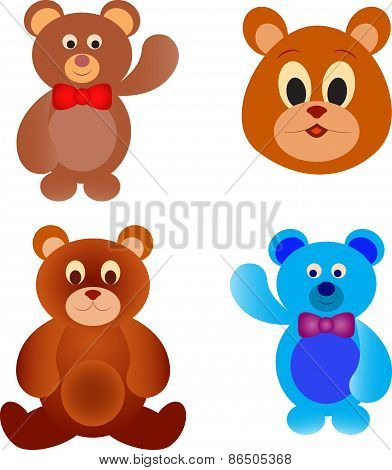Isolated Bear Vectors, Teddy Bear Illustrations