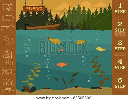 Fishing infographic elements. Set elements for creating your own infographic design