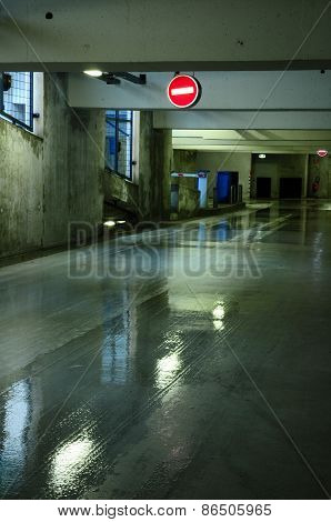Parking Garage With Wet Floor