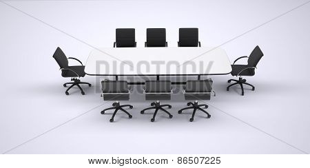 Conference table and eight black office chairs