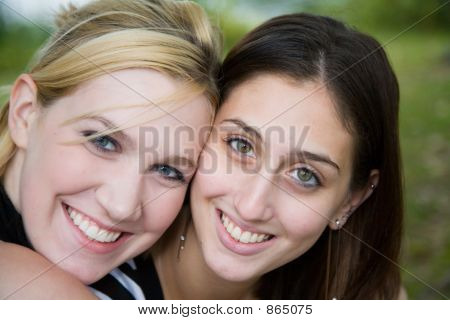 Friends (Beautiful Young Blonde And Brunette Girls)