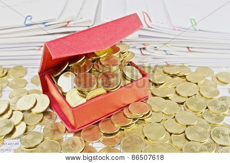 Gold Coins Overload From Red Box