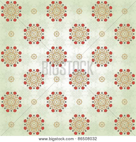 Seamless Background With Floral  Round Elements