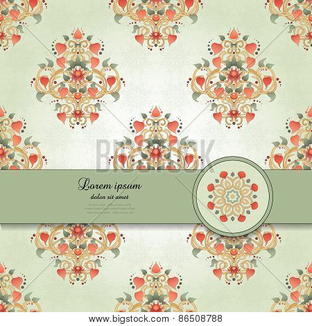 Vector Card With Floral Symmetrical Elements