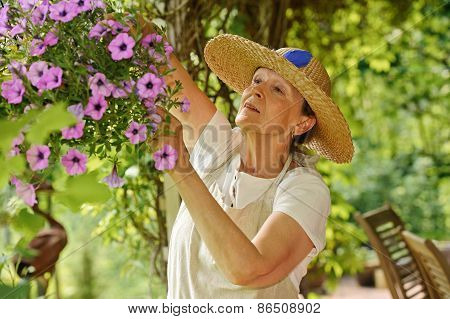 Senior Woman With Hanging Pot