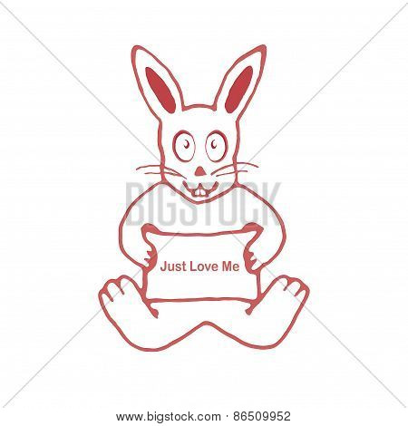 Cute Rabbit With Just Love Me Text Banner Drawing