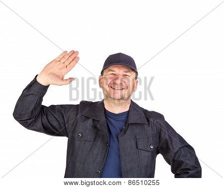SMiling worker with open palm.