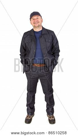 Worker with hand in pockets.