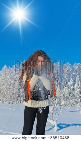 Wintry Fun Beauty in warm clothes