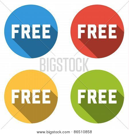Collection Of 4 Isolated Flat Colorful Buttons (icons) With Free Text