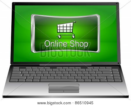 Laptop Computer with online Shop Button