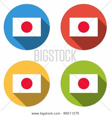 Collection Of 4 Isolated Flat  Buttons (icons) With Japanese Flag