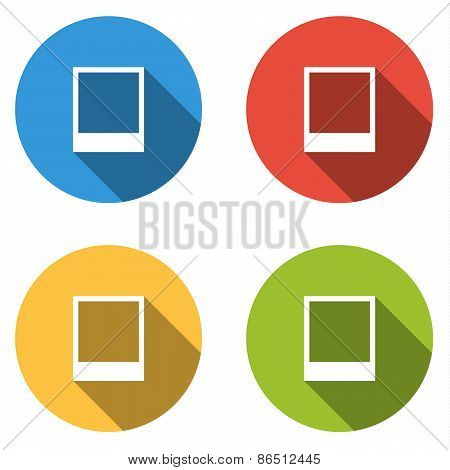 Collection Of 4 Isolated Flat Colorful Buttons (icons) For Picture