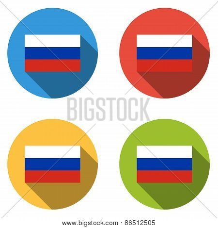 Collection Of 4 Isolated Flat Buttons (icons) With Russian Flag