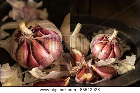 Compilation Of Fresh Raw Garlic In Moody Natural Lighting Set Up With Vintage Retro Style
