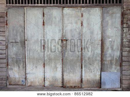 Old Wooden Door In Thai House