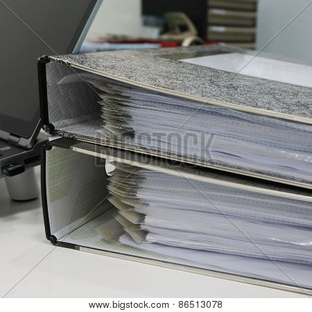 Binders With Papers In Office