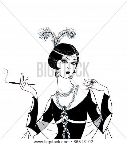 Flapper girl: Retro party invitation design.Art deco women with cigarette .