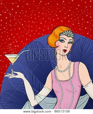 Flapper girl: Retro party invitation design.Art deco women with glass.Retro birthday invitation.
