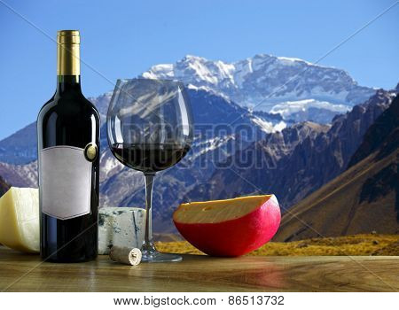 Argentine wine and cheese Aconcagua mountain in the background.