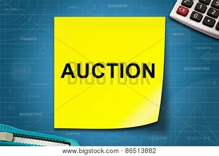 Auction Word On Yellow Note