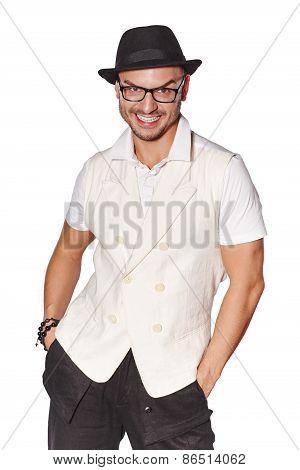 Elegant happy young handsome man