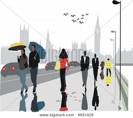 London pedestrians in rain illustration