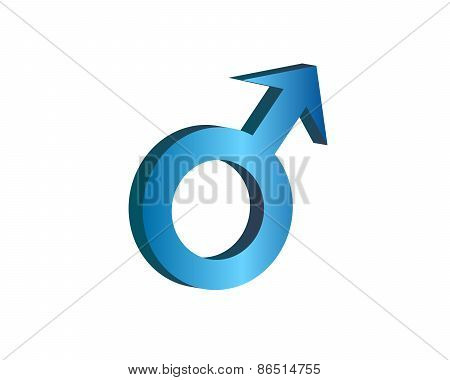 Male Symbol In Blue 3D