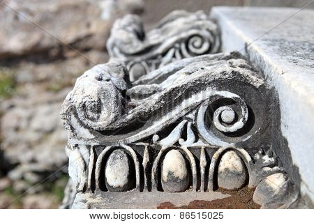 Ancient Ruins And Broken Pieces From Pergamon In Bergama, Turkey