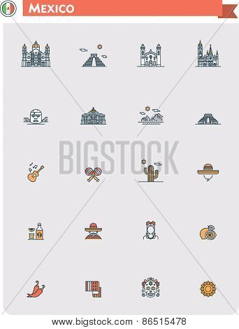 Set of the Mexico traveling related icons