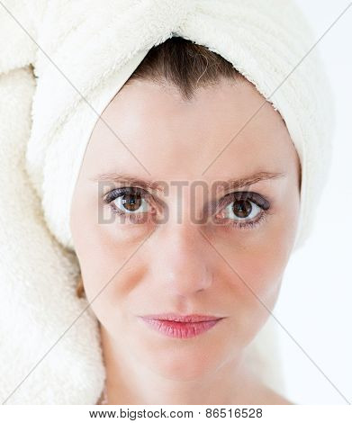 beautiful woman with a towel on head