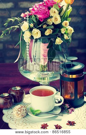 Morning Breakfast. Still Life Of Tea And Flowers