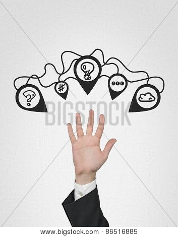 Hand With Brainstorming Icons