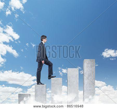 Businessman Walking On Chart