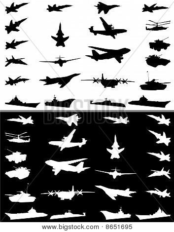 Silhouettes Of Military Technics