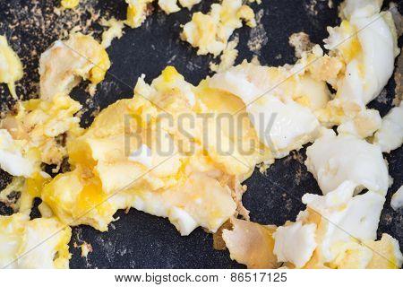 Scrambled Egg In Frying Pan, Closeup