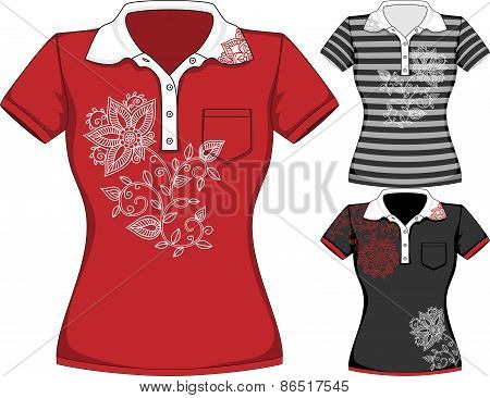 Vector womens short sleeve t-shirt design templates