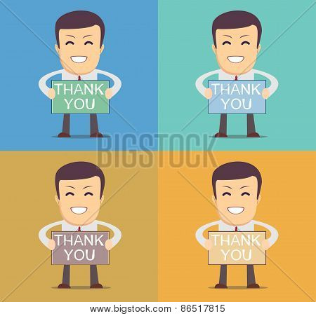 Friendly cartoon businessman, vector illustration