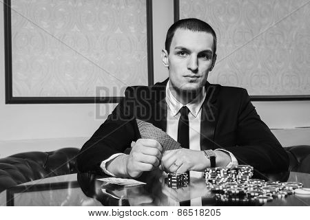 Poker player in the casino.