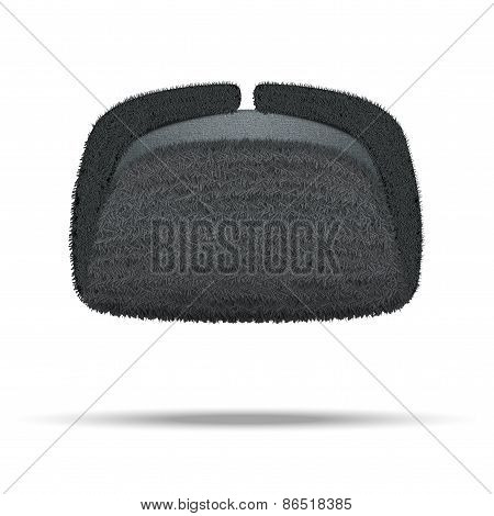Russian black winter fur hat ushanka.