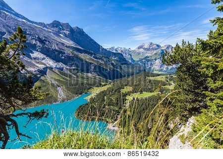 View Of Oeschinensee (oeschinen Lake) And The Valley On Bernese Oberland