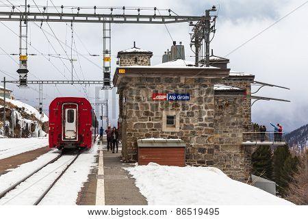 Bernina Express Stopped At Alp Grum