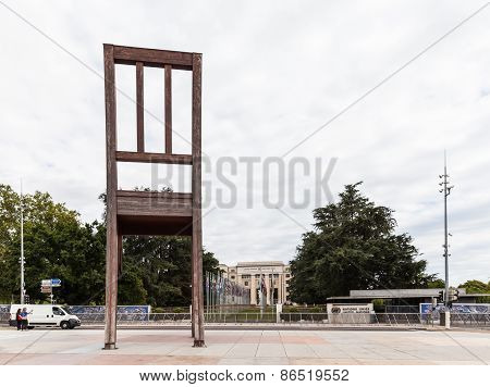 Broken Chair On The Place Des Nations, Geneva