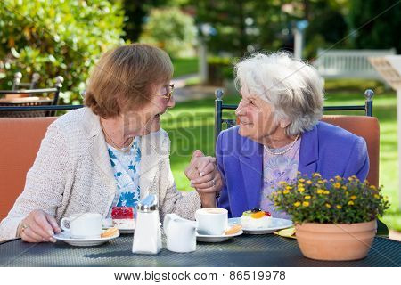 Happy Elderly Women Chatting At The Garden Table