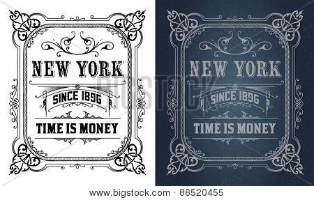 Retro design, dark and white set. Vector
