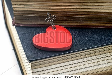 Red Heart With Crucifix And the Bible